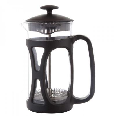 Infuzor ceai si cafea sticla, sapir, capac, maner si rama din plastic, 350 ml, negru foto