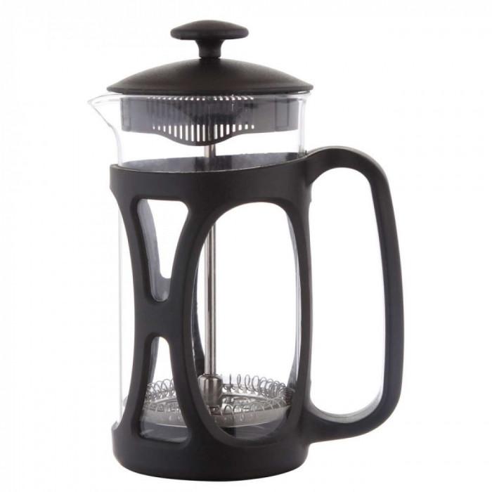 Infuzor ceai si cafea sticla, sapir, capac, maner si rama din plastic, 350 ml, negru foto mare