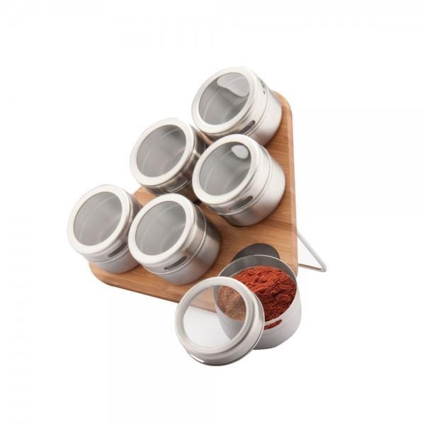 Set condimente cu suport magnetic din bambus estelle peterhof, 6 recipiente, 7 piese, inox, model triunghi foto mare