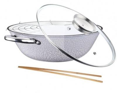 Tigaie wok din fonta cu suport si capac 30 CM PH 15428 32 foto