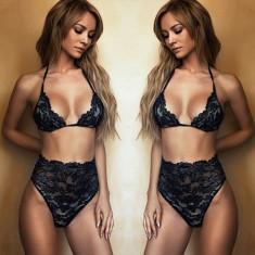 Lenjerie Lady Lust Sexy Black Dantela Set Sutien Bikini Fashion Black Negru, S/M