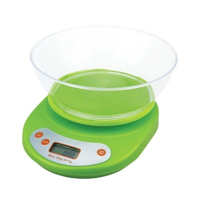 Cantar electronic de bucatarie cu afisaj digital si bol plastic, maxin 5 kg, Dei, verde foto