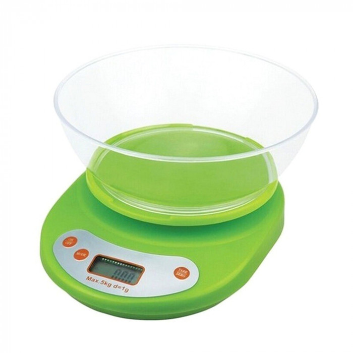 Cantar electronic de bucatarie cu afisaj digital si bol plastic, maxin 5 kg, Dei, verde foto mare