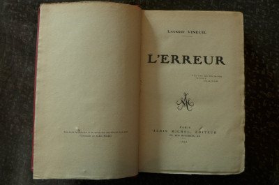 L'erreur  de Laurent Vineuil  Ed. Albin Michel Paris 1919 foto