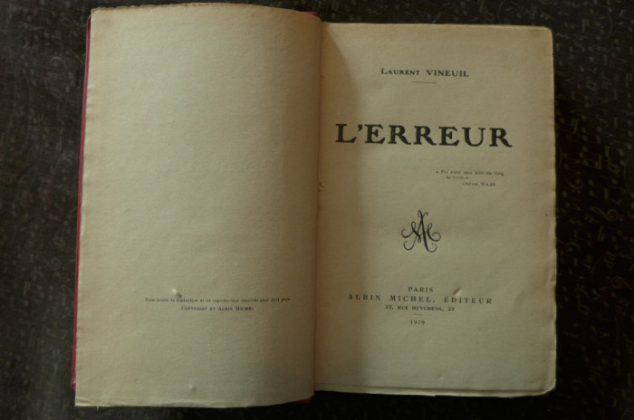 L'erreur  de Laurent Vineuil  Ed. Albin Michel Paris 1919 foto mare