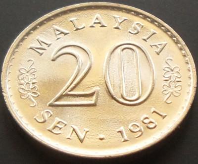 Moneda 20 Sen - MALAEZIA, anul 1981  *cod 2483 --- PERFECT UNC! foto