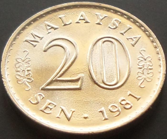 Moneda 20 Sen - MALAEZIA, anul 1981  *cod 2483 --- PERFECT UNC! foto mare