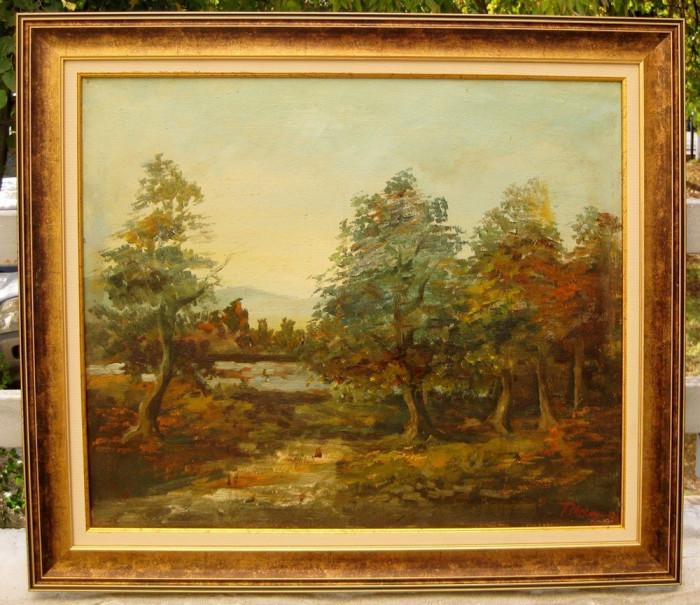 Traian Mocanu - Peisaj Padure cu stejari tablou pictat in ulei inramat 64x74cm foto mare