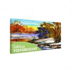 Tablou fosforescent Toamna pe malul apei - Tablou canvas