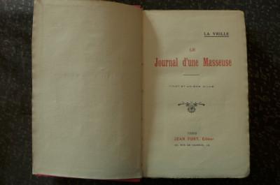 Le journal d'une masseuse  de La Vrille  Ed. Jean Fort Paris 1923 foto