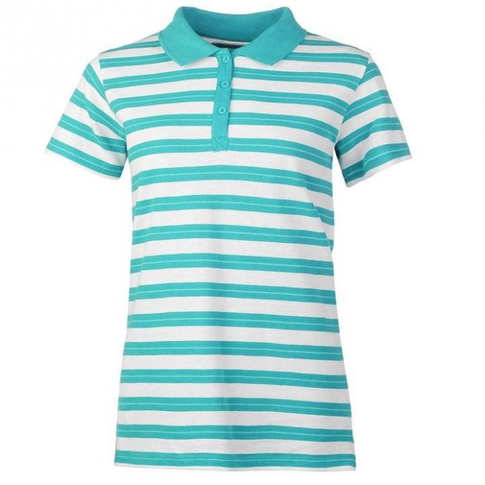 Oferta! Tricou Polo Dama Miso Stripe Turquoise - original foto mare