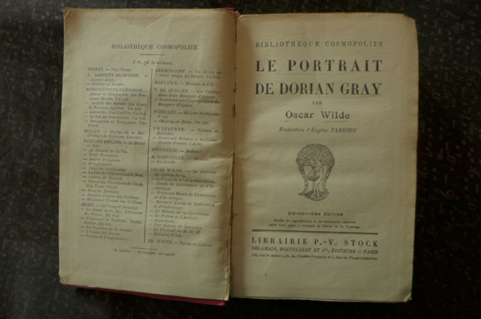 Le portrait de Dorian Gray  de Oscar Wilde  Ed. P.V. Stock Paris 1920 foto mare
