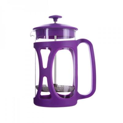Infuzor ceai si cafea sticla, sapir, capac, maner si rama din plastic, 350 ml, mov foto