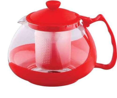 Infuzor ceai si cafea sticla, renberg, capac, maner si rama din plastic, 750 ml, rosu foto mare
