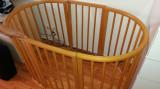 Pat Stokke - crib, mini si extensie, 140x70cm, Maro