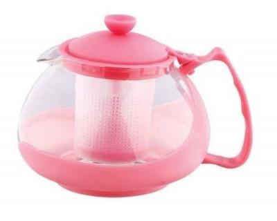 Infuzor ceai si cafea sticla, renberg, capac, maner si rama din plastic, 750 ml, roz foto