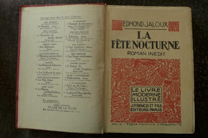 La fete nocturne  de Edmond Jaloux  Ed. J. Ferenczi et fils Paris 1924 foto mare