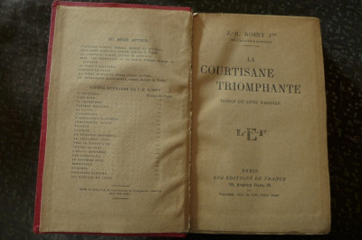La courtisane triomphante  de J.H. Rosny Jr.  Ed. de France Paris 1925 foto