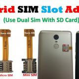 Vand Adaptor Hibrid sim card  - dual sim cu card date in acelasi timp, Samsung Galaxy Note Edge