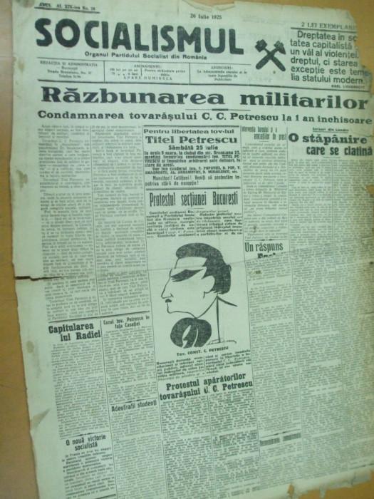 Socialismul 26 iulie 1925 condamnare Titel Petrescu caricatura Marculescu Tulcea foto mare