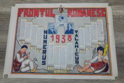 Calendar litografiat/  1938, Frontul Romanesc, Carol II, Alexandru Vaida-Voevod foto