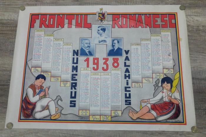 Calendar litografiat/  1938, Frontul Romanesc, Carol II, Alexandru Vaida-Voevod foto mare