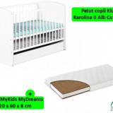 Patut Cu Sertar Klups Karolina Ii Alb + Saltea 8 Mykids Mydreams - Patut lemn pentru bebelusi