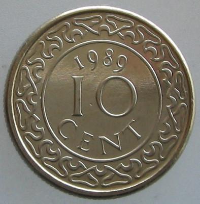 SURINAM KM#13a - 10 Cent 1989 UNC foto