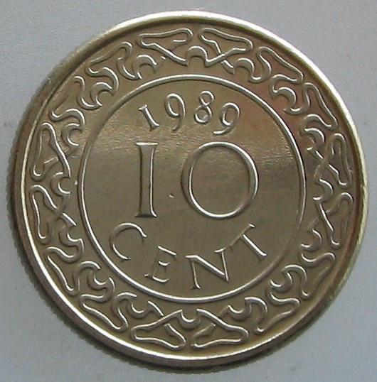 SURINAM KM#13a - 10 Cent 1989 UNC foto mare
