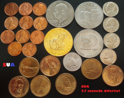 Lot / Set 27 Monede Diferite de la 1 Cent la 1 Dolar = CALITATE!!!   *cod SUA foto