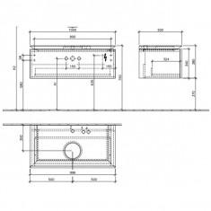 Villeroy & Boch, Legato, mobilier suspendat pentru lavoar pe mijloc, 100 cm, lemn deschis - Corp baie