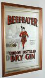 Reclama , serigrafie vintage litografiata pe oglinda Beefeater Dry Gin