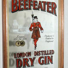 Reclama, serigrafie vintage litografiata pe oglinda Beefeater Dry Gin - Reclama Tiparita