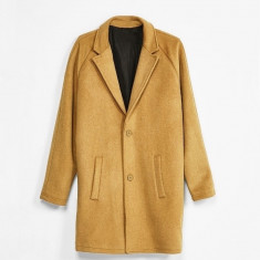 Palton Barbati Casual Elegant Lung Gros Slim Lana Maro Camel, Marime: S, M, Bumbac