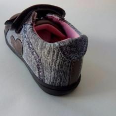 Pantof casual pentru fetite, gri cu roz, marimi 20, 21, 22, 24 - Adidasi copii, Fete, Piele naturala