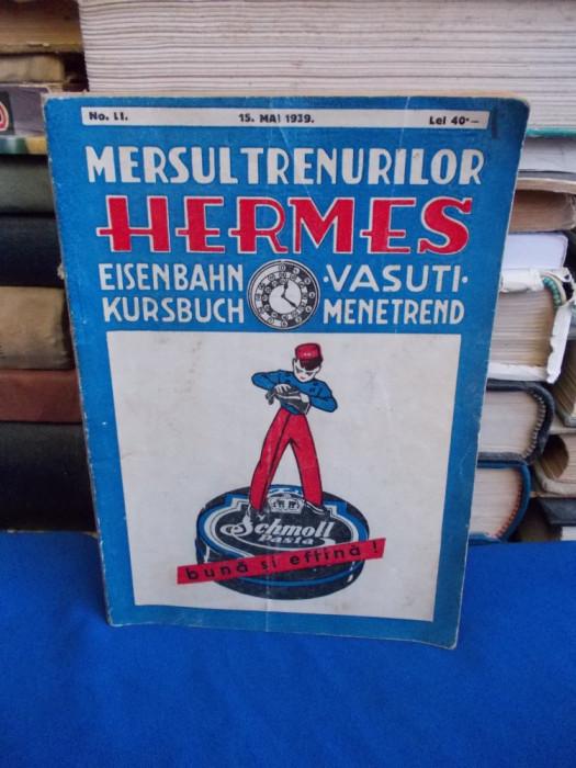 HERMES * MERSUL TRENURILOR + SUPLIMENT MERSUL AUTOBUZELOR CFR - BRASOV - 1939 foto mare