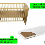 Patut Klups Karolina Ii Natur + Saltea 8 Mykids Mydreams - Patut lemn pentru bebelusi