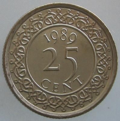 SURINAM KM#14a - 25 Cent 1989 UNC foto