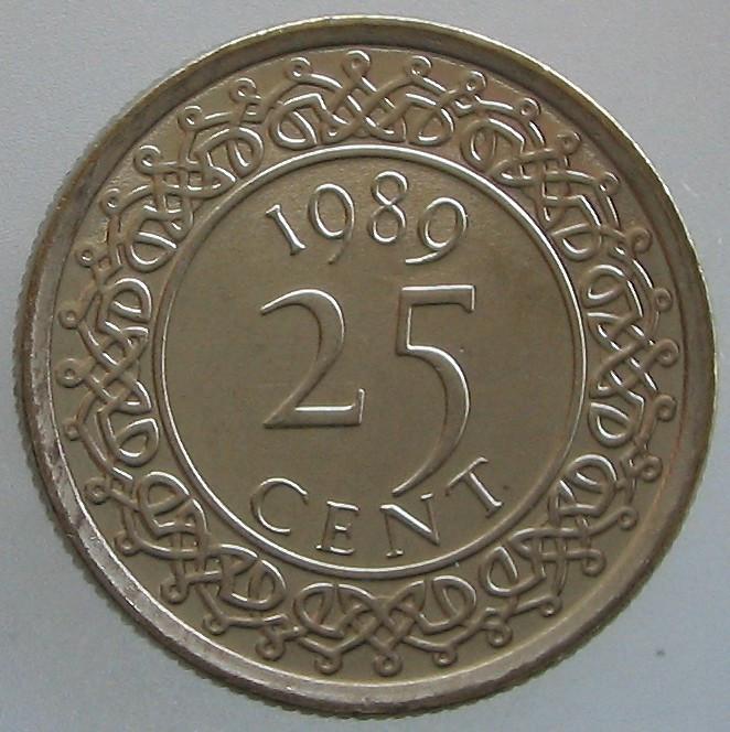 SURINAM KM#14a - 25 Cent 1989 UNC foto mare