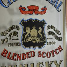 Reclama vintage litografiata pe oglinda Chivas Regal Blended Scotch Whisky - Reclama Tiparita