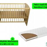Patut Klups Karolina Ii Natur + Saltea 12 Mykids Mydreams - Patut lemn pentru bebelusi