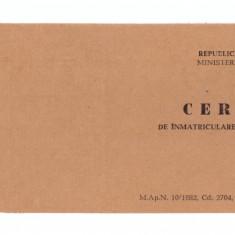 Certificat de inmatriculare autovehicule militare RSR MApN - Diploma/Certificat