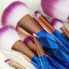 Set 10 Pensule Machiaj Unicorn fara husa ( blue & purple ) - Pensula machiaj