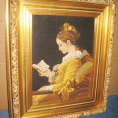Goblen semnat Lectura-Fragonard rama aurie deosebita, stare foarte buna. - Broderie