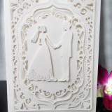 Invitatie nunta filigran eleganta culoare la alegere mire mireasa alb