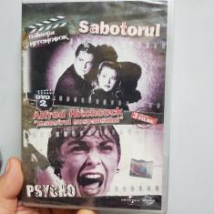 DVD SABOTORUL & PSIHO & HITCHCOCK MAESTRUL SUSPANSULUI 3 FILME 108+109+50 MINUTE - Film thriller universal pictures, Romana