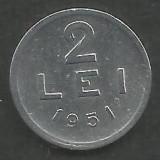 ROMANIA   RPR    2  LEI  1951    [3]  VF ,  livrare in cartonas, Aluminiu