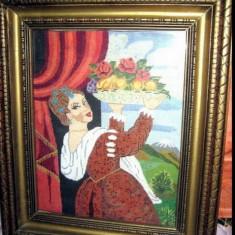 Goblen vechi Mariana- Femeie cu fructiera. - Tapiterie Goblen
