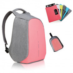 Rucsac laptop Bobby Compact Coralette roz antifurt + cadou