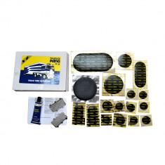 Set petice vulcanizare Pang PF30 pentru camera auto la autoturisme, autoutilitare si camioane (TIR), 17 petice si solutie lipit 35ml - Scule bicicleta